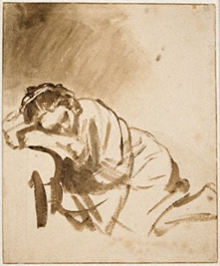 """""""A Young Woman—Hendrickje—Sleeping,"""" Rembrandt Harmensz. van Rijn, about 1654 / Image courtesy of the British Museum, London and © The Trustees of the British Museum"""