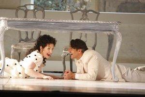 "Nathan Gunn as Figaro, with Joyce DiDonato as Rosina, in LA Opera's ""The Barber of Seville"" / photo by Robert Millard"