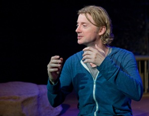 """Johnny O'Callaghan in """"Who's Your Daddy?"""" at the Little Victory Theatre / Photo by Nancy Savan"""