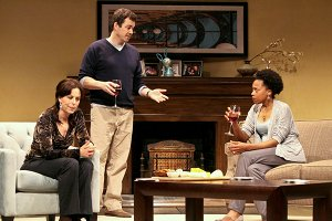 "Jane Kaczmarek, Jon Tenney and Cherise Boothe in ""Good People"" at the Geffen Playhouse / Photo by Michael Lamont"