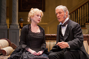 "Julia Duffy and Richard Chamberlain in ""The Heiress"" at the Pasadena Playhouse. / Photo by Jim Cox"