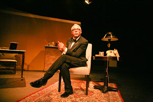 "Anthony Skordi in ""Onassis"" at the Stella Adler Theatre / photo by John Eder"