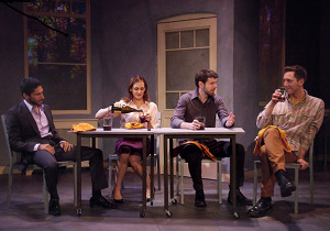 "Ethan Rains, Deborah Puette, Johnathan McClain and Adam Silver in ""Creation"" at the Theatre at Boston Court / Photo by Ed Krieger, Boston Court"
