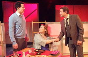 """Jonathan Bray,  Deidra Edwards and Nick Stabile in """"Fat Pig"""" / Photo by Ed Krieger"""