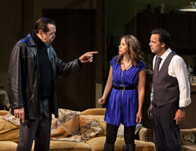 "Chazz Palminteri, Elizabeth Rodriguez and Kenny D'Aquila star in the world premiere of ""Unorganized Crime,"" written by Kenny D'Aquila and directed by David Fofi and now playing at the Elephant Theatre in Hollywood. / Photo by Daniel Reichert"