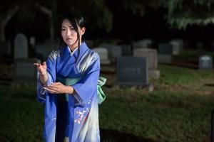 "Alpha Takahashi in ""The Grove of Rashomon,"" one of the plays in Wicked Lit's new season. / Photo by Daniel Kitayama"