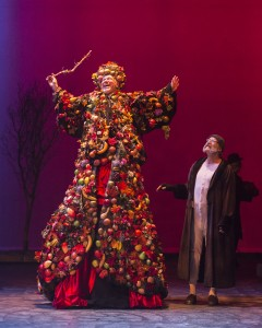 "Alan Blumenfeld (Ghost of Christmas Present) with Geoff Elliott (Scrooge) in A Noise Within's ""A Christmas Carol"" / Photo by Craig Schwartz"