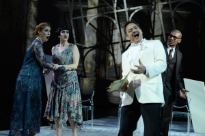 "Danielle Marcelle Bond, Jamie Chamberlin, Nathan Granner and Cedric Berry in ""The Invention of Morel"" at Long Beach Opera / Photo by Kip Polakoff"