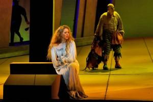 "Gilda (Lisette Oropesa) and Rigoletto (Juan Jesús Rodriguez) in LA Opera's production of ""Rigoletto"" / Photo by Ken Howard, courtesy of LA Opera"