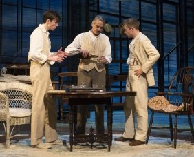 """Long Day's Journey Into Night"": Matthew Beard (Edmund Tyrone), Jeremy Irons (James Tyrone) and Rory Keenan (James Tyrone Jr) / Photo by Hugo-Glendinning"
