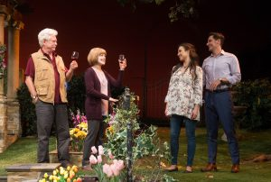 "(L-R) Bruce Davison, Frances Fisher, Jessica Meraz and Christian Barillas in ""Native Gardens"" at Pasadena Playhouse / Photo by Jenny Graham"
